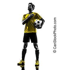 brasilianisch, fußballfootball, spieler, junger mann, silhouette