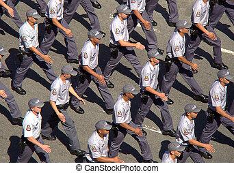 brasilianisch, militärische parade, marschieren, straße