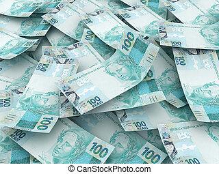 brasiliansk, -, en, valuta, real., hundra, färsk