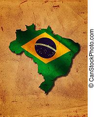 brasiliansk, karta, med, flagga