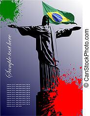 brasilien, avbild, täcka, flagga, brasiliansk, broschyr