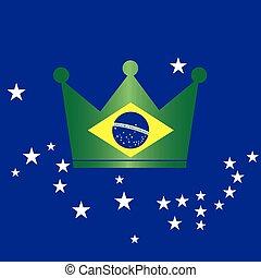 brasilien, bilda, krona, flagga