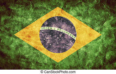 brasilien, grunge, flag., posten, von, mein, weinlese, retro, flaggen, sammlung