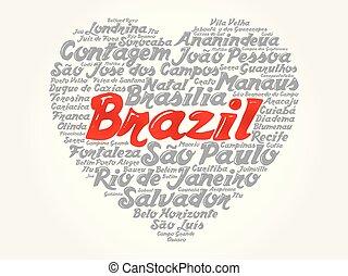 brasilien, herz, wort, liste, städte, wolke