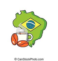 brasilien, karta, kaffe kopp