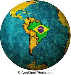 brasilien, kort, flag, klode