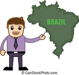 brasilien, kort, viser, vektor, mand