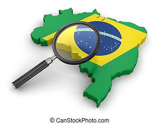 brasilien, landkarte, loupe