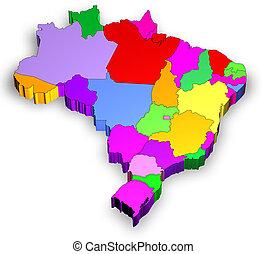 brasilien, landkarte, staaten, drei dimensionale