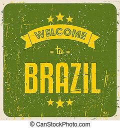 brasilien, plakat, retro