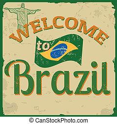 brasilien, plakat, velkommen, vinhøst
