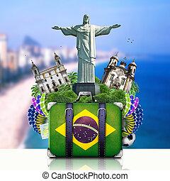 brasilien, rejse, landemærker, brasilien