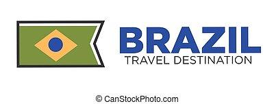 brasilien, spielraum- bestimmungsort, emblem