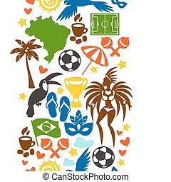 brasilien, symbole, muster, seamless, stilisiert, kulturell...