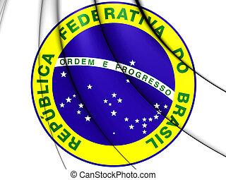brasilien, täcka, arms., illustration., 3