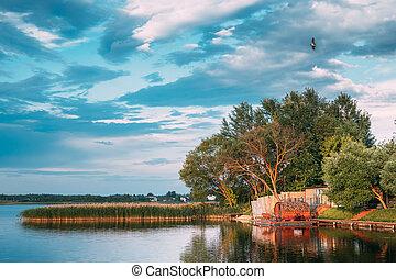 Braslaw Or Braslau, Vitebsk Voblast, Belarus. Wooden Sauna In A Wooden Pier For Fishing And Rest Near And Beautiful Lake Novyaty. Resort On Braslav Lakes