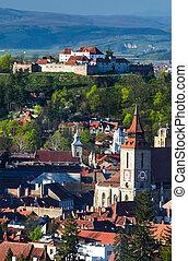 Brasov aerial view of downtown, Romania