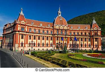 Central administration building of Brasov county, in Romania, XIXth century neobaroque architecture style.