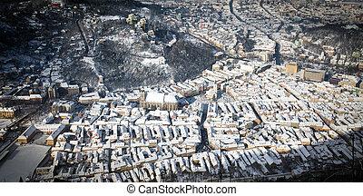 Brasov old city center aerial view, Romania