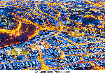 Brasov, Romania. Arial view of the old town during Christmas