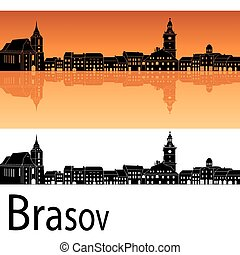Brasov skyline in orange background