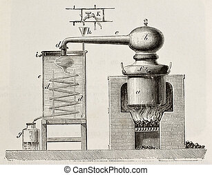 Brass alembic - Old schematic illustration of a brass...