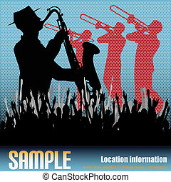 Brass Background - Music vector flyer with brass musicians