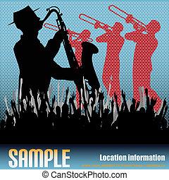 Brass Background - Music vector flyer with brass musicians