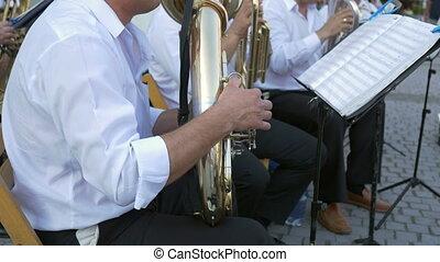 Brass Band Member Performing