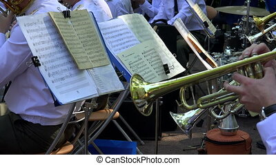 Brass band. The pipe. Notes. Shot in 4K (ultra-high...