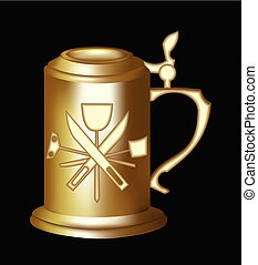 Brass beer tankard with relief of malting tools. 3d photorealistic pitcher on black background. Elegant golden beer jug