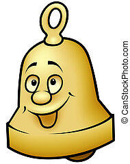 Brass Bell - colored cartoon illustration, vector