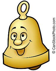 Brass Bell - colored cartoon illustration, vector