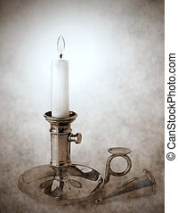 Brass candlestick with snuffer
