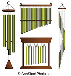 Brass chimes - Set of four brass wind chimes on white