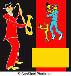 Brass Dance Flyer - Cartoon style Saxaphone player and a...