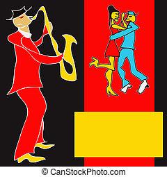 Brass Dance Flyer - Cartoon style Saxaphone player and a ...