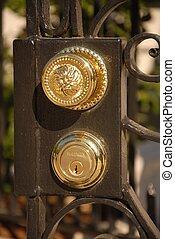brass door handel - gate with door knob and key