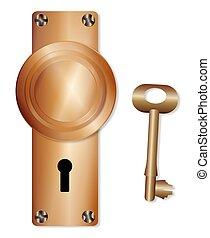 Brass Door Knob And Key