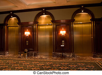 Brass Elevator Doors in a well decorated office or hotel...