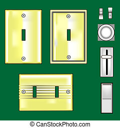 Brass faceplates and light switches