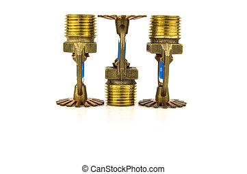 brass fire sprinkler with copy space - brass fire sprinklers...