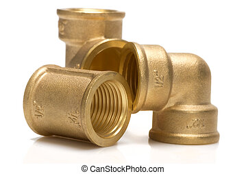 brass fittings for plumbing pipes - gon, tee, sleeve - brass...