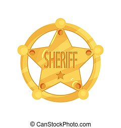 Brass five-pointed sheriff star badge in flat design isolated on white background. Golden policeman jetton.