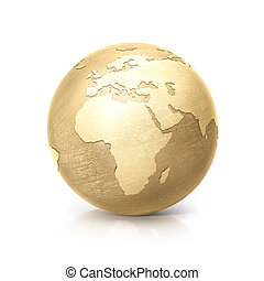 brass globe 3D illustration europe and africa map