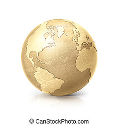 brass globe 3D illustration north and south america map