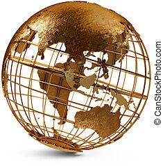 Brass Globe - Brass globe displaying Australia and Asia on a...