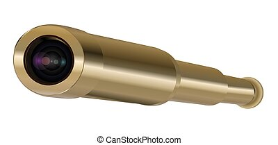 Brass Hand Held Telescope, Pirate Spyglass. 3D realistic isolated on white background
