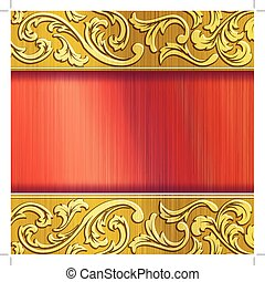 Brass horizontal banner in red