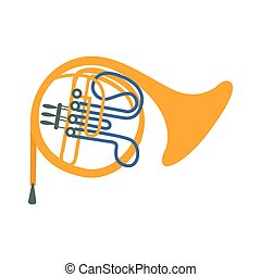 Brass Horn, Part Of Musical Instruments Set Of Realistic Cartoon Vector Isolated Illustrations